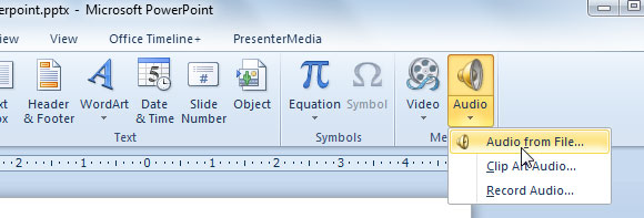 how to put music in powerpoint 2010
